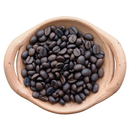 Coffee Bean in Claypot Isolated on White Background