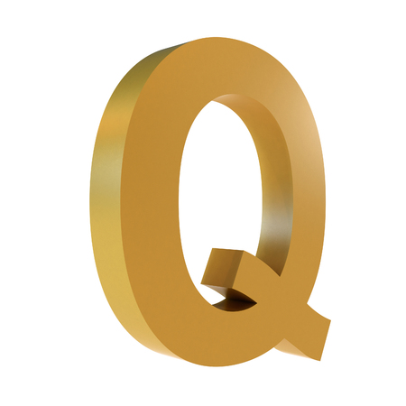3D Gold Letter Q Isolated White Background