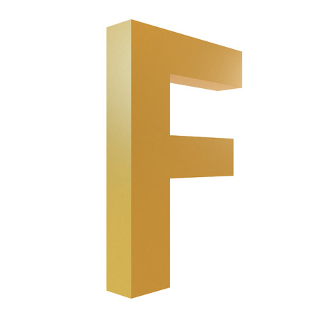 3D Gold Letter F Isolated White Background