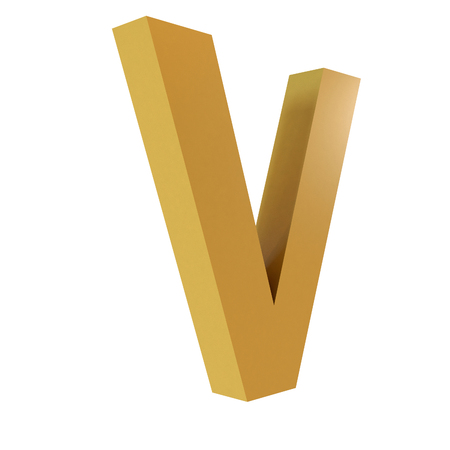 3D Gold Letter V Isolated White Background Stok Fotoğraf