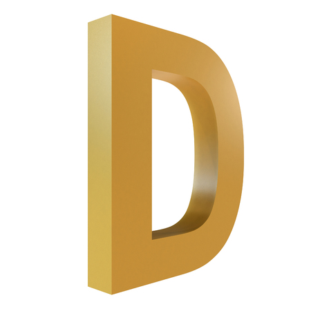 3D Gold Letter D Isolated White Background Stok Fotoğraf