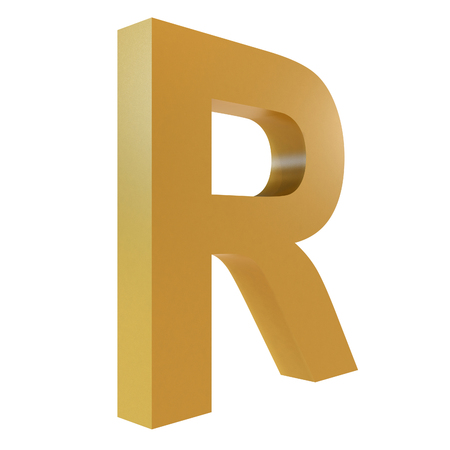 3D Gold Letter R Isolated White Background