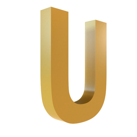 3D Gold Letter U Isolated White Background