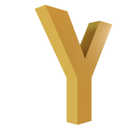 3D Gold Letter Y Isolated White Background  Stok Fotoğraf