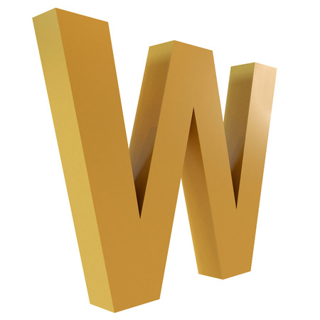 3D Gold Letter W Isolated White Background