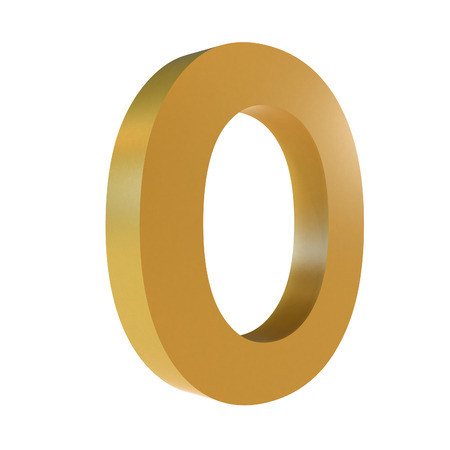 3D Gold Letter O Isolated White Background Stok Fotoğraf