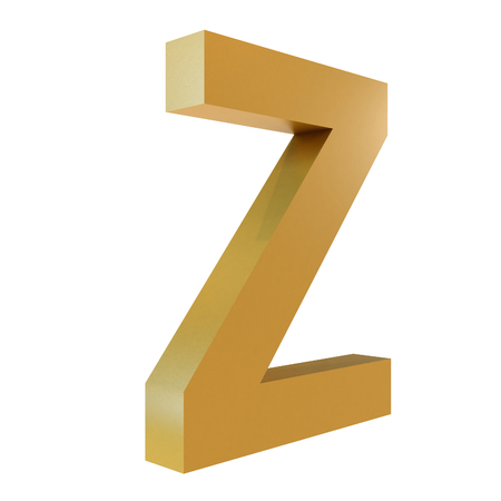 3D Gold Letter Z Isolated White Background