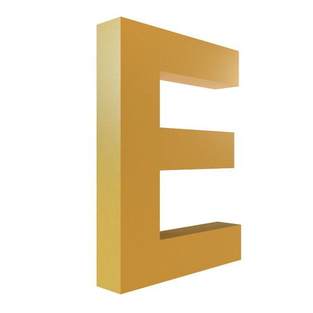 3D Gold Letter E Isolated White Background Stok Fotoğraf