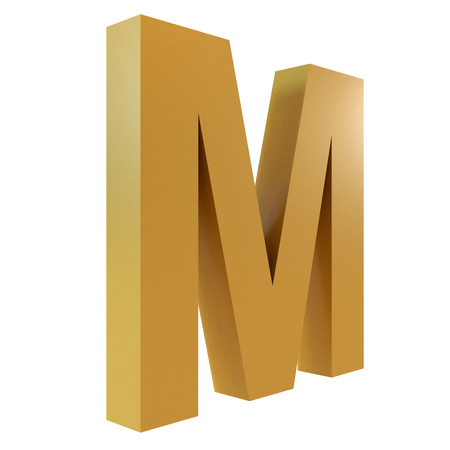 3D Gold Letter M Isolated White Background Stok Fotoğraf