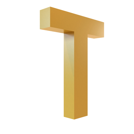 3D Gold Letter T Isolated White Background