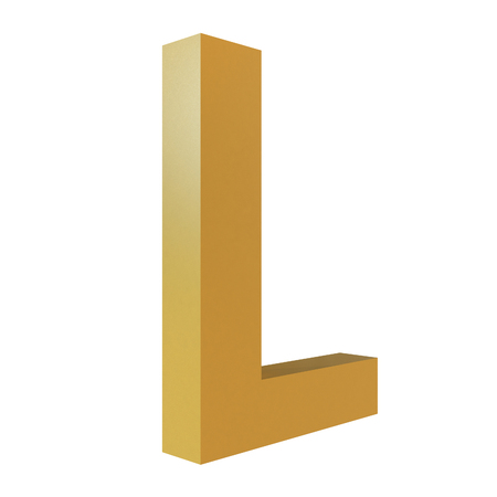 3D Gold Letter L Isolated White Background Stok Fotoğraf