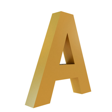 3D Gold Letter A Isolated White Background Stok Fotoğraf