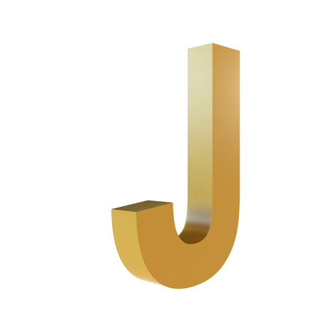 3D Gold Letter J Isolated White Background