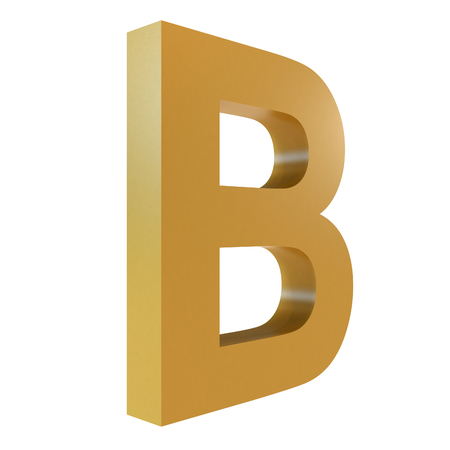 3D Gold Letter B Isolated White Background Stok Fotoğraf