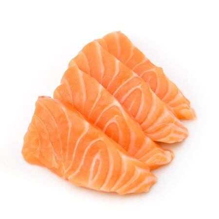 Slided Raw Salmon Sashimi White Background Stok Fotoğraf