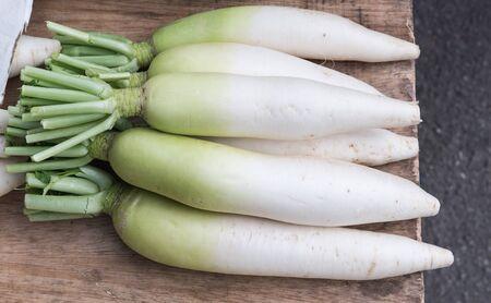 radishes: fresh radishes in market