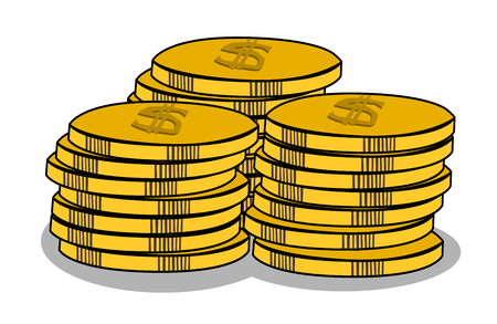 Stack of golden coin on white background Ilustração