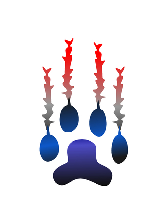Animal paw scratch. Monster claw vector.