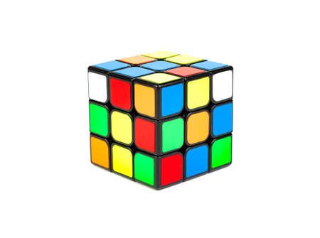 SAMUT-SAKHON, THAILAND - MAY 09, 2021 : Rubik's cube isolated on white background.
