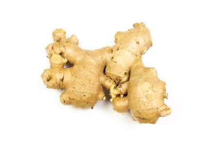Fresh ginger rhizome isolated on white background. Stock Photo