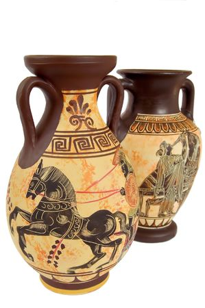 two ancient greek vases isolated over white photo