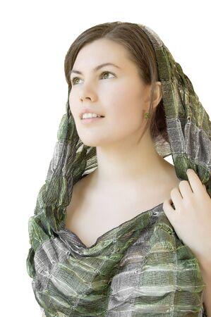 beautiful girl with green scarf isolated over white photo