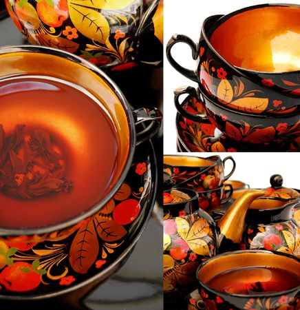russian ethnicity: Collage of a traditional russain tea service