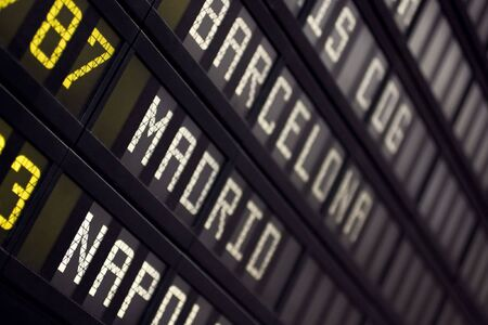 departure board: Airport Board With Arrivals Departures Close Up