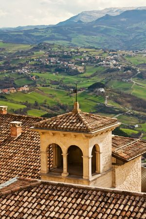 apennines: Ancient building and italian appenines on the background Stock Photo