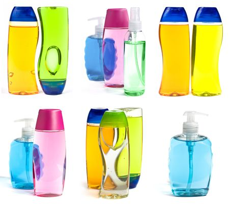 Liquid Soap Bottles And Shower Gel Isolated On White Background photo