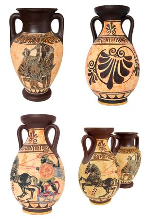 Collage Of Four Ancinet Greek Vases Isolated On White Background photo