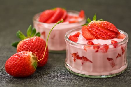 Close up of Strawberry Yogurt in Glass Cups photo
