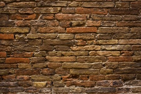 ruined: Close Up Of A Orange Brick Wall Background Stock Photo