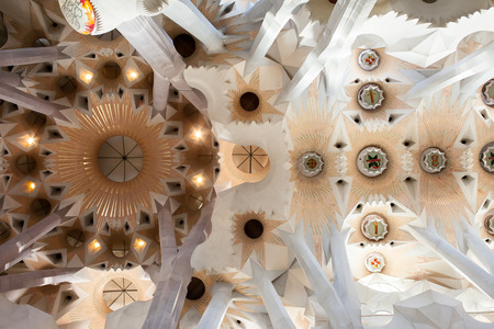 Detail of the ceiling in La Sagrada Familia Cathedral in Barcelona