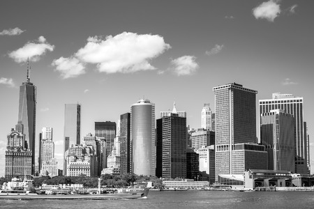 newyork: View on NewYork Downtown Skyline for the Hudson River on a Sunny Day in Black and White