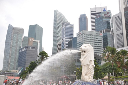 Merlion park  and building business-center