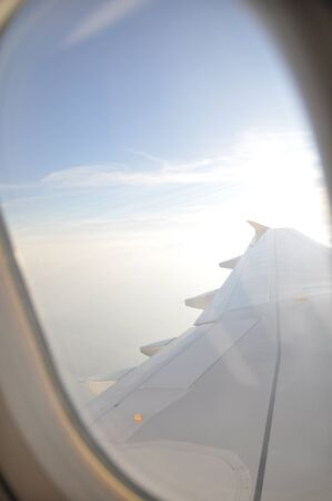 a view of clouds from airplane window  photo