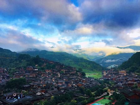 2018, Guizhou, southeastern Guizhou, Leishan, Xijiang Qianhu Miao Village, Hanging House Redactioneel