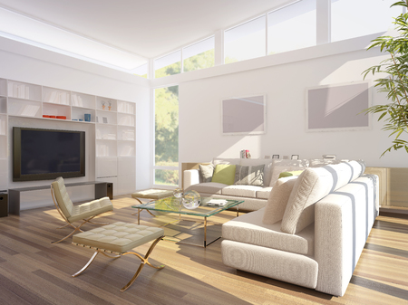 contemporary living room: computer generated illustration of a modern living room