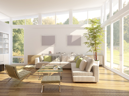 modern living room: computer generated illustration of a modern living room
