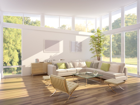 flooring design: computer generated illustration of a modern living room