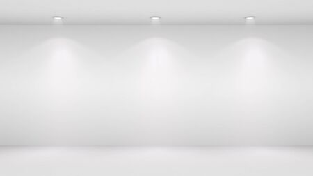 blank wall: 3D illustration of blank wall lighted by spotlights