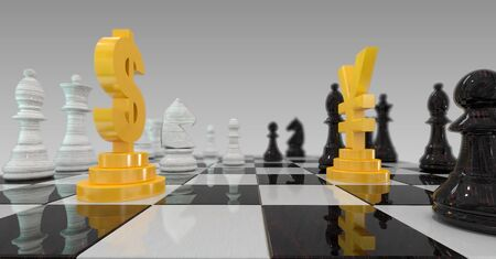 checkerboard: 3d illustration of dollar versus yuan on checkerboard
