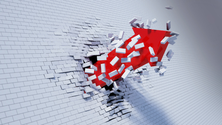 break: 3d illustration of arrow break through wall Stock Photo