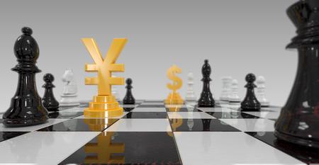 checkerboard: 3d illustration of yuan versus dollar on checkerboard