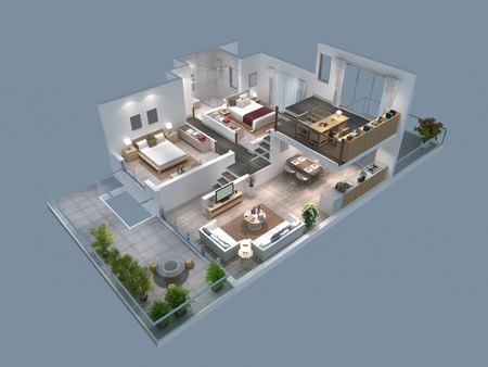 livingroom: 3d illustration of isometric villa plan