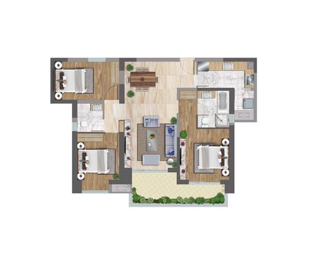 floor plan: 3d illustration of a floor plan