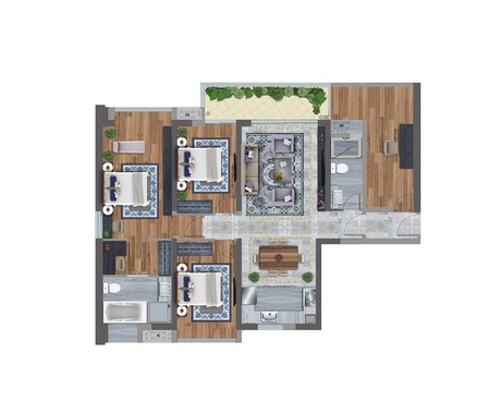 3d illustration of a floor plan
