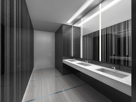 sleek: 3d illustration of sleek restroom