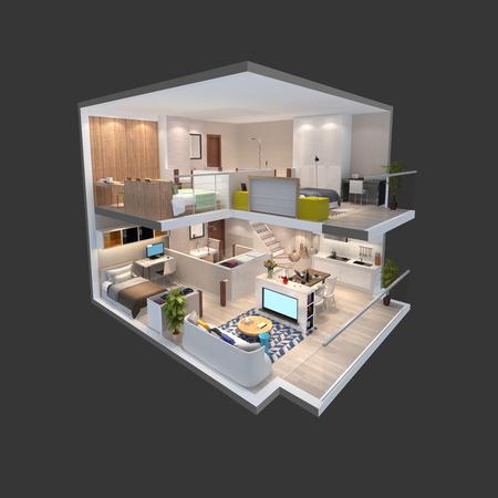 penthouse: 3d illustration of penthouse isometric plan